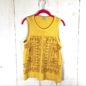 Lucky Brand Mustard Geometric Embroidered Tank Top